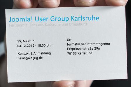 Einladung: 15. Meetup der Joomla User Group Karlsruhe am 04.12.2019 bei formativ.net