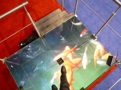 Top View: omniSHAPES display surface under raised platform