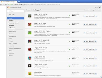 """Suchergebnisse für """"Bad Piggies"""" im Chrome Web Store"""