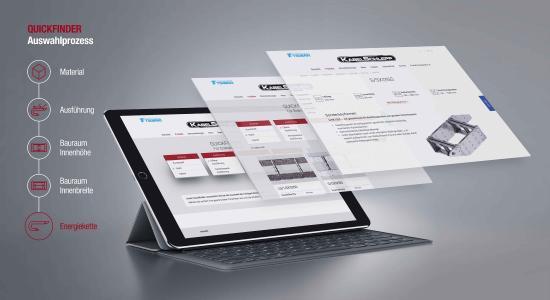 Effektive online Orientierungshilfe – der webbasierte KABELSCHLEPP Quickfinder führt schnell und einfach zum geeigneten Produkt