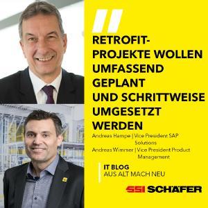 Andreas Hampe, Vice President SAP Solutions und Andreas Wimmer, Vice President Product Management bei SSI Schäfer
