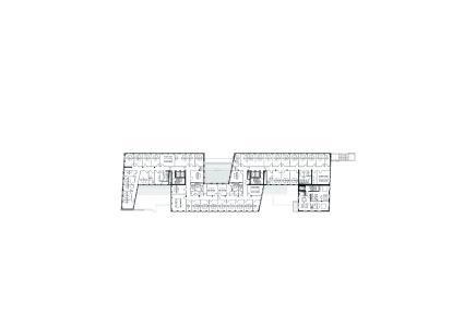 Grundriss Büronutzung mit Einzelbüros. Bild: Turmcarrée Grundstücksgesellschaft mbH & Co. KG