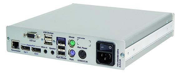 Die DP-HR-Konsole bietet die Möglichkeit, Monitore mit DisplayPort-Anschluss bei hohen Auflösungen in die KVM Matrixsysteme ControlCenter-Digital und DVICenter einzubinden
