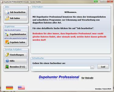 Dupehunter Professional - Startfenster