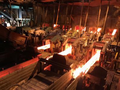 Erster Guss auf der modernisierten Sechsstrang-Knüppelgießanlage von SMS Concast bei Dragon Steel Corporation in Taichung, Taiwan