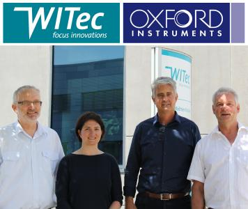 The companies' representatives following the official announcement at WITec Headquarters in Ulm, Germany. From left to right: Joachim Koenen (Managing Director at WITec), Alexandra Lipes (HR Generalist at Oxford Instruments), Dirk Keune (Managing Director Germany and Director Sales EMEAI at Oxford Instruments) and Olaf Hollricher (Managing Director at WITec).
