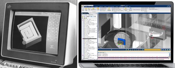 Wo immer auch gefräst, gedreht, gebohrt oder geschliffen wird, ist VERICUT® - inzwischen in der Version 8.1.2 erhältlich - als weltweit marktführende Lösung für die Simulation von CNC-Maschinen sowie zu Optimierung und Verifikation von NC-Programmen im Einsatz. Links im Bild Version 1.2 - Rechts Version 8.2