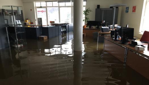 Auch die Viessmann Niederlassung im luxemburgischen Steinsel war vom Hochwasser betroffen.