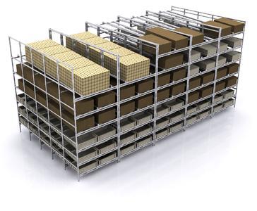 Beispiel für ein Supermarkt- oder Lagerregal aus einem Rohrklemmsystem (Bildquelle: NeoLog)