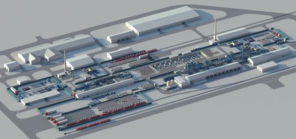 Der neue Werkskomplex von MMPZ-group (im Modell)