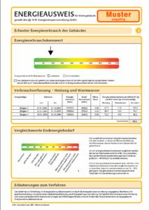 Vorschau Energieverbrauchskennwert mit Energietachho