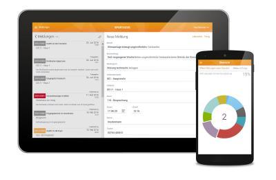 Meldung einer Störung sowie Darstellung der Anzahl der offenen Störungen  Bildquelle: N+P Informationssysteme GmbH