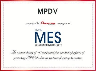 "For the second time in a row, MPDV receives the ""Top 10 MES Solution Provider"" award (Source: MPDV)"