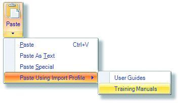 Paste using import profile