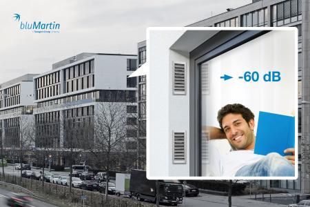 Die optimierte Laibungslösung des freeAir-Lüftungssystems sorgt für eine fließende Fassa-denoptik und erhöht in Kombination mit dem Premium Cover den Schalldämmwert der Lüf-tung auf 60 dB