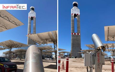 Infrarotkamera von InfraTec: zwischen den Spiegeln des Solarfeldes, rund um den Solarturm in der Atacama-Wüste, ausgerichtet auf den Receiver des Turmes