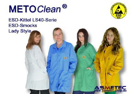 METOCLEAN ESD Kittel und -Jacken können in vielen Farben und Schnitten gefertigt werden.