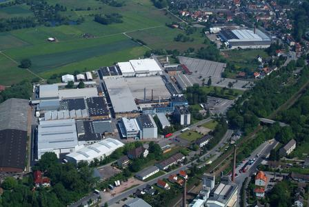 Bird's eye view of the headquarters of STIEBEL ELTRON in Germany, Holzminden