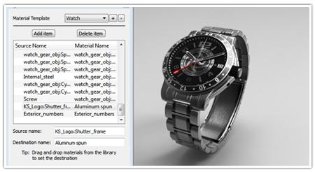 KeyShot unterstützt die automatische Zuordnung von Materialien bereits beim Modellimport.
