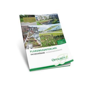 "Die neue ""Planungsunterlage Dachbegrünung Fassadenbegrünung"" – jetzt kostenlos anfordern: info@optigruen.de. Quellenhinweis ""Optigrün"""