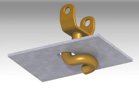 Carfix-Abb. 1: Keine Punktbelastung: Der Carfix-Haken stützt sich flächig am Lochblech ab.