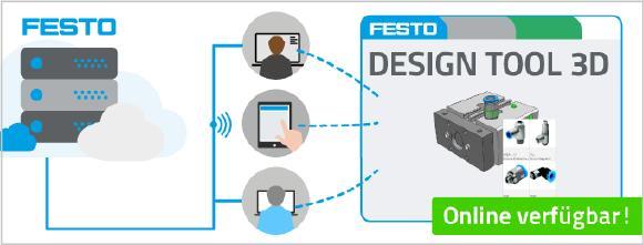 Ab sofort steht das Festo Design Tool 3D auch online ganz ohne Installation oder Plugin zur Verfügung