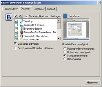 Die Anwendung erlaubt vielfältige Konfigurationsmöglichkeiten auf Seiten des Präsentators