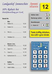 Apronti Speisekarten Aufsteller - im Bild mit Funktastatur