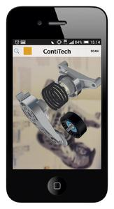 "The new ""ContiDrive"" app from ContiTech shows tensioners and other belt-drive components as an exploded assembly drawing in 3D. The detailed pictures can be rotated and moved. Photo: ContiTech"