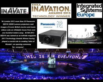 Panasonic erhält Award der AV-Industrie für bei Olympia 2012 eingesetzte Projektoren