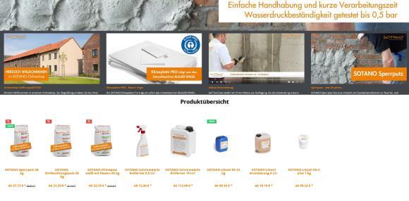 Ein reichhaltiges Produktprogramm erwartet die Besucher des neuen Sotano Online-Shops. Screenshot: SOTANO, Hemer