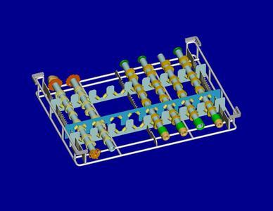 Bei den Werkstückträgern für rohr- und wellenförmige Teile bestehen die auswechselbaren Teileaufnahmen aus so genannten Prismen-Steckrechen, die in ein Grundgestell eingesteckt werden.