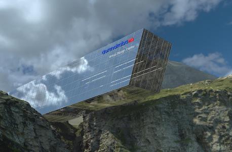 Das virtuelle Gebäude. Real existierende 3D gescannte Landschaft kombiniert mit rein virtueller Architektur.
