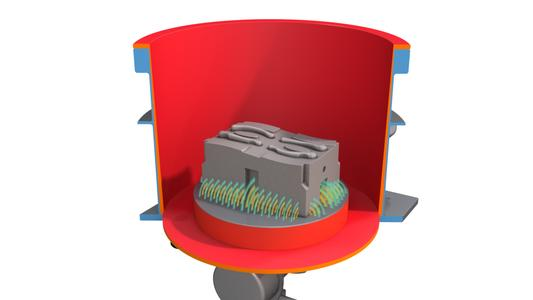 Powerful electromagnets keep the work piece in place on the base plate. The work piece is subjected to the same vibrations as the container