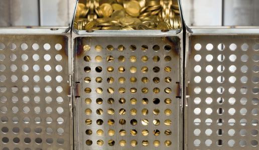 Der kompakte Container besitzt mit 31 Litern ausreichend Platz für bis zu 50.000 Münzen.