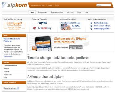 Screenshot der neuen sipkom-Webseite