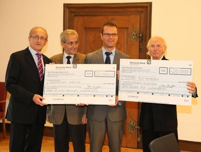 Image: (f.l.) Hans Beser (Municipal Administrator of Ergenzingen), Volker Derbogen (Mayor of Rottenburg), Stephan Neher (Lord Mayor of Rottenburg) and Senator h. c. Peter Schaufler (CEO of BITZER SE)