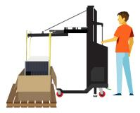 Die Lastenflächenerweiterung ermöglicht das vertikale Herausheben von schweren IT-Geräten direkt aus einer Verpackungskiste.