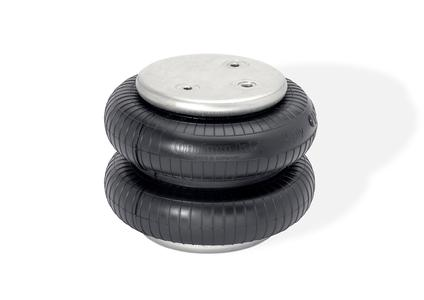 Double convoluted air springs are used in the axle suspension of agricultural vehicles and in construction and mining machines, among other applications (Photo: ContiTech)