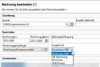 Die Auswahl des Rechnungsformats in Xpert-Timer V8