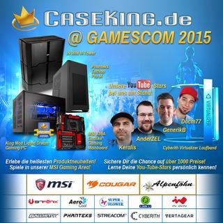 Caseking auf der gamescom 2015 mit High-End-Hardware, riesiger Gaming-Area, mehr als 1.000 Preisen und Give-Aways - das Nonplusultra