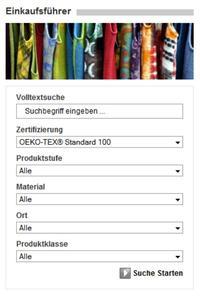 """Mit Hilfe des Online-Einkaufsführers unter www.oeko-tex.com/produkte können Anbieter von Promotionstextilien gezielt nach OEKO-TEX® zertifizierten Grundmaterialien und Herstellern suchen / Bevor fertig bedruckte, beflockte oder bestickte Werbeartikel mit dem Label """"Textiles Vertrauen"""" gekennzeichnet werden dürfen, müssen sie als Gesamtprodukt von einem der OEKO-TEX® Institute erfolgreich auf ihre Unbedenklichkeit überprüft werden"""