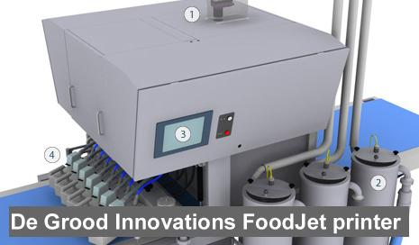 De Grood Inovations FoodJet printer - The printer's vision system uses Matrox Iris GT smart camera (1). Additional reservoirs contain liquid that can be dispensed within minutes if a switch is needed (2). The HMI provides the operator with information on choice of product, pressure and shutter times of values (3). Printing heads (4)