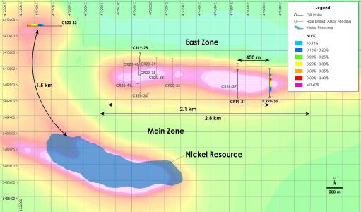 Plan View of East Zone Nickel - Drilling Results overlain on total field magnetic intensity, Crawford Nickel-Cobalt Sulphide Project, Ontario