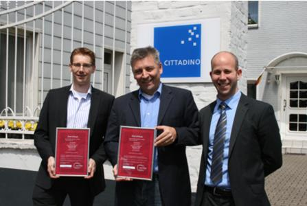 From left to right, Bas Smeets Advantech's Business Development Manager iServices; Peter Schlichter CITTADINO's Chief Financial Offer; Frederic Kriescher Advantech's Key Account Manager iServices