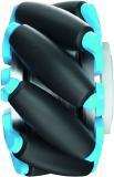 Antriebeinheit mit Mecanum-Rad von Nabtesco. Dank ihrer besonderen Konstruktionsweise können sich Mecanum-Räder ohne Wendekreis frei in alle Richtungen bewegen und drehen