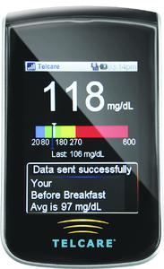 The world's first wireless enabled Blood Glucose Meter from Telcare. Photographer / Source  Telcare Inc.