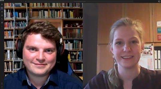 Tristan Eckhard und Gina Tietmeyer während des Schulungstermins