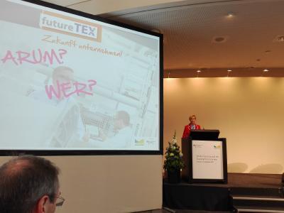 """Präsentation Projekt futureTEX & Workshop """"Forschen ist Silber – Anwenden ist Gold"""" Foto: STFI"""