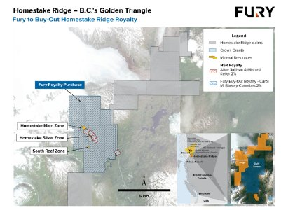 Figure 1: Homestake Ridge project location map showing land claims and royalties